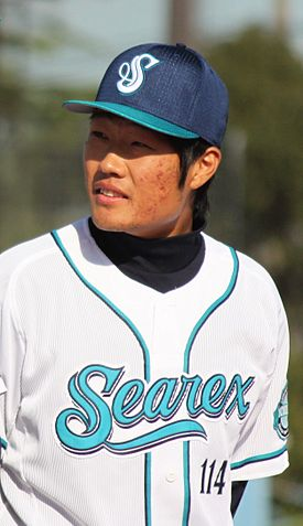 Wang Jingchao, pitcher of the Yokohama BayStars, at Yokosuka Stadium.JPG