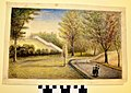 """Watercolor Painting """"View of Old Wooden Stairs Leading to Reservoir"""" by John W. Herthel.jpg"""