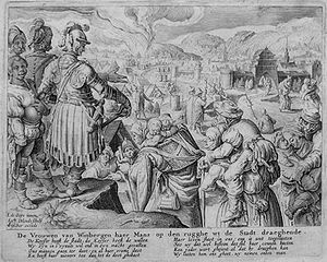 "Zacharias Dolendo - Engraving by Dolendo depicting the story of the ""Women of Weinsberg"", after a painting by Jacob de Gheyn II"