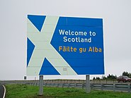 Welcome to Scotland sign A1 road