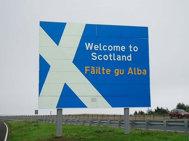 """""""Welcome to Scotland sign A1 road"""" by Amanda Slater from Coventry, England - September 14th """"Welcome to Scotland""""Uploaded by oxyman. Licensed under Creative Commons Attribution-Share Alike 2.0 via Wikimedia Commons - https://commons.wikimedia.org/wiki/File:Welcome_to_Scotland_sign_A1_road.jpg#mediaviewer/File:Welcome_to_Scotland_sign_A1_road.jpg"""