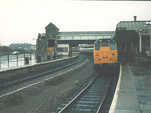 Weston-super-Mare railway station - A Class 31 with a local service to Bristol before the canopy was cut back