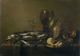 Still Life with Silver Glass and Clock