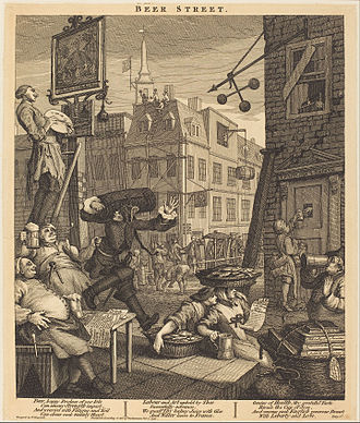 Beer Street and Gin Lane - The first and second states of Beer Street featured the blacksmith lifting a Frenchman with one hand. The 1759 reissue replaced him with a joint of meat and added the pavior and housemaid.
