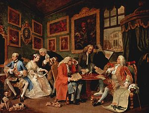 """Marriage à-la-mode"" by William Hogarth: a satire on arranged marriages and prediction of ensuing disaster"