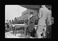 Wings over Palestine-Certificates of Flying School, April 21, 1939. Dr. Herzog, Chief Rabbi of Palestine (Askenazim) addressing gathering thro(ough) loud-speakers (Lydda Air Port) LOC matpc.18309.jpg