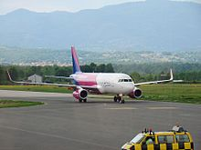 WizzAir airplane taxiing in Tuzla International Airport