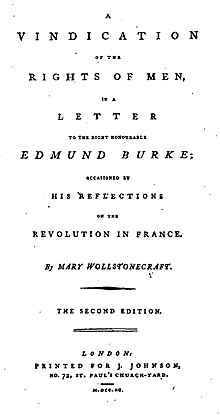 La page de titre se traduit par « A Vindication of the Rights of Men (une Défense des droits des hommes), dans une lettre au très honorable Edmund Burke ; occasionnée par ses réflexions sur la Révolution en France. Par Mary Wollstonecraft. Seconde Édition. Londres : Imprimé par J. Johnson, No. 72, St. Paul's Church-Yard. M.DCC.XC. »