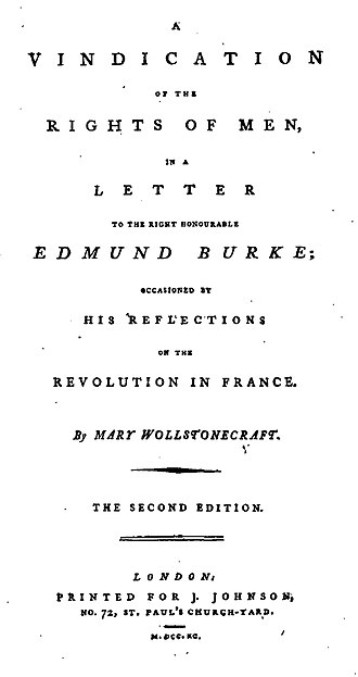 Joseph Johnson (publisher) - Title page from the second edition of Mary Wollstonecraft's A Vindication of the Rights of Men (1790), the first to have her name on it