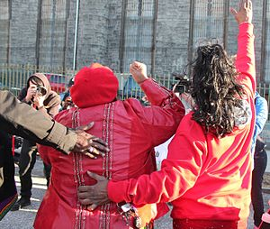 International Women's Strike - Women showing their support in red