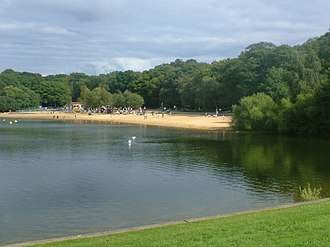 Ruislip Lido - View of the south-east bay of the reservoir