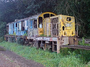 New Zealand DJ class locomotive - DJ3044 in a decrepit state, stored at Mainline Steam, Parnell, before it was dismantled for spare parts in May 2011.