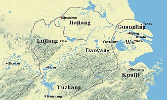 Sun Ce - The northern part of Yang Province where Sun Ce was active in detail. Several locales of relevance are pinpointed on this map.