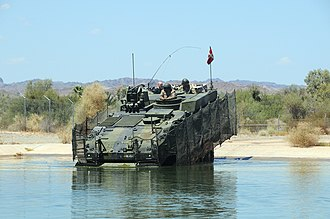 Yuma Proving Ground - A Royal Danish Army Piranha V Infantry Fighting Vehicle conducts testing at YPG's water fording pit