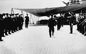 Japanese battleship Musashi - Yamamoto's ashes return to Japan aboard Musashi, 23 May 1943.