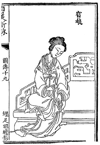Foot binding - 18th-century illustration showing Yao Niang binding her own feet