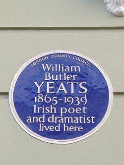 Photo of William Butler Yeats blue plaque
