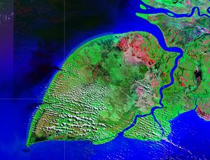 Yos Sudarso Island - NASA satellite image.