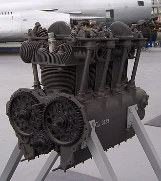 Cam-in-block - Zündapp 9-092 engine. The two camshafts are each driven by the large gears. The vertical tubes contain the pushrods to the rocker arms above the cylinder heads, and thus the overhead valves