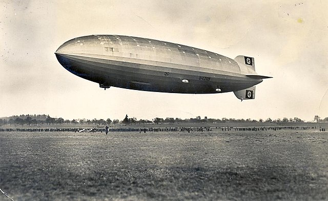 The LZ 129 Hindeburg on its flirst flight in 1936.