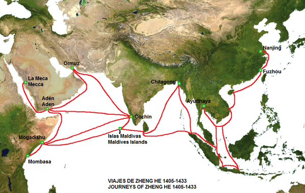 The route of the voyages of Zheng He's fleet, including Majapahit ports. Zheng He.png