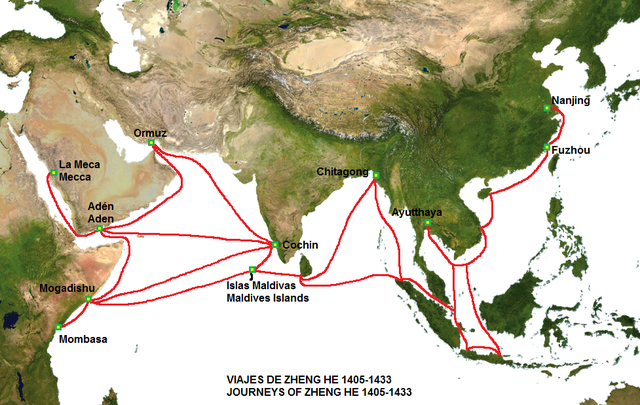 Map of the routes of Zheng He