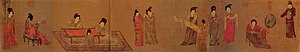 Zhou Fang (Tang dynasty) - Image: Zhou Fang. Lady With Servants (or Lady With Fan). (33,7x 204,8) Beijing Palace Museum