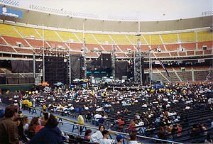 "Zoo TV Tour - The ""Outside Broadcast"" version of the stage, before a Veterans Stadium concert in September 1992"