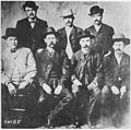 """Dodge City (Kans.) Peace Commissioners. L to R, Chas. Bassett, W. H. Harris, Wyatt Earp, Luke Short, L. McLean, Bat Mas - NARA - 530990.jpg"