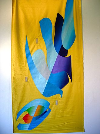 2002 FIFA World Cup - In Search of Fresh Air. Banner by Ray L. Burggraf.