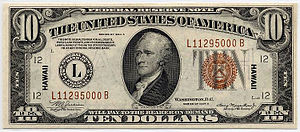 Symbols of the United States Department of the Treasury - $10 Hawaii overprint bill