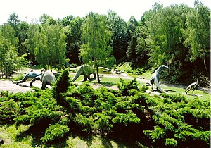 Urban park - The Dinosaurs Valley (reconstructions of prehistoric reptiles) within Silesian Park in Poland's Upper-Silesian Metropolis.