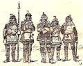В. К. Арсеньев в удэгейском костюме (в центре) и удэгейцы с реки Анюй. Рисунок по фотографии.jpg