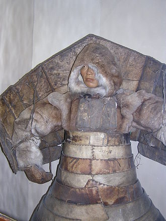 Chukchi people - Laminar armour from hardened leather with pauldrons enforced by wood worn by Chukchi and Siberian Yupik  people