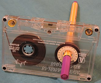 Cassette tape - Cassettes can be rewound with a pen or pencil