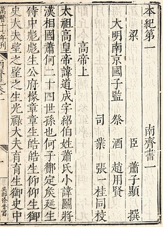 Chinese characters - A page from a Ming dynasty edition of the Book of Qi
