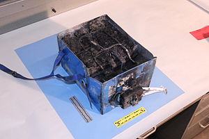 Boeing 787 Dreamliner battery problems - The heavily burned battery from JA829J after it suffered thermal runaway