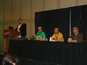 Udon Entertainment - The UDON panel at the 2012 New York Comic Con. From left to right are UDON Director of Marketing Chris Butcher (emceeing at the podium), Managing Editor Matt Moylan, Project Manager Jim Zubkavich and artist Omar Dogan.