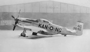"Kansas Air National Guard - Kansas Air National Guard F-51D 44-13646,  at Wichita Municipal Airport. Note the fuselage designation ""NG"", indicating the photo was taken prior to the formation of the Air National Guard in September 1947."