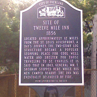 "Overland, Missouri - Marker commemorating the Twelve Mile Inn, an early rest stop at the ""Overland Park"""