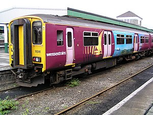 Wessex Trains - A Class 150 unit in West Country advertising livery. Many of these units were named after local attractions.