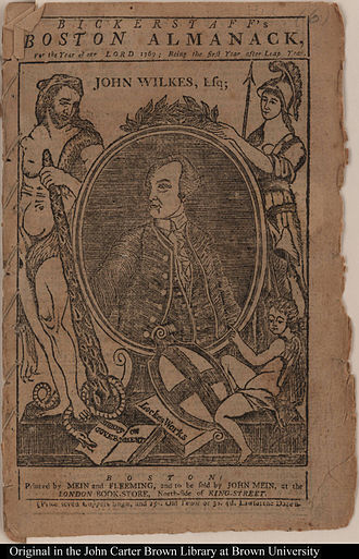 John Mein (publisher) - Bickerstaff's Boston Almanack, 1769. Printed by Mein and Fleeming, and to be sold by John Mein at the London Book-Store, North-side of King-Street, Boston