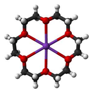 Crown ether - 18-crown-6 coordinating a potassium ion