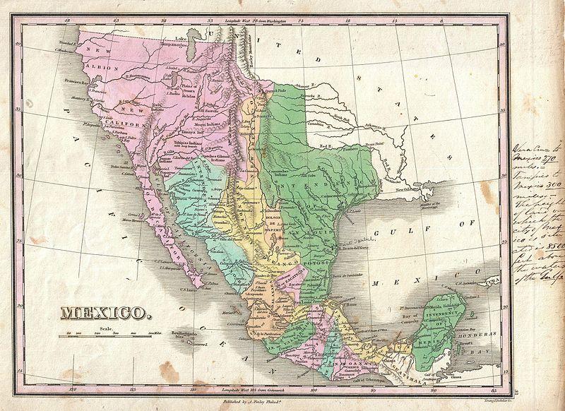 Mapa de México hacia 1827.