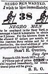 1827 Navy Agent Samuel R. Ovrton ad for 38 Negro men.jpg