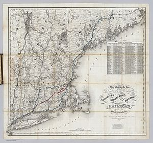 New York and New England Railroad - 1867 New Haven, Middletown and Boston Railroad map