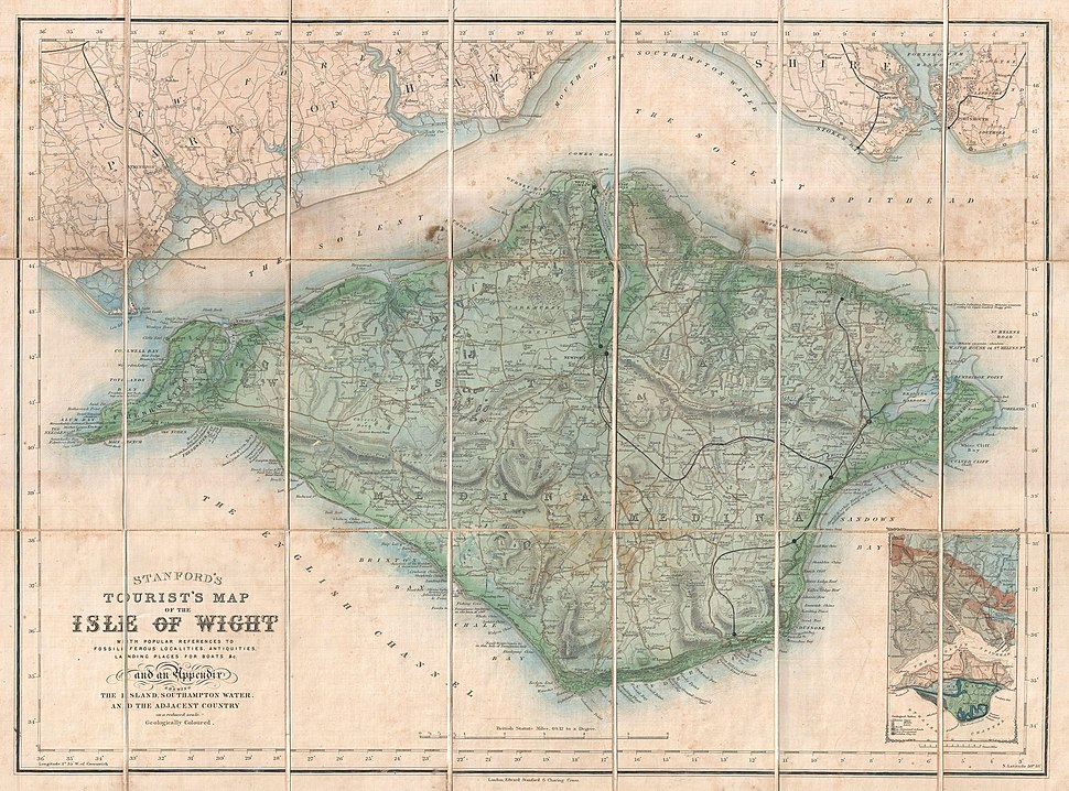 1879 Stanford Pocket Map of the Isle of Wight, England - Geographicus - IsleofWight-stanford-1879