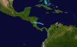 1933 Atlantika tropika ŝtormo 21 track.png