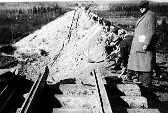 1935 Timiskaming earthquake - Collapsed railroad embankment at Parent