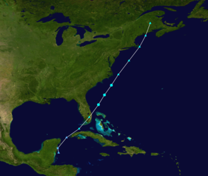 1952 Atlantic hurricane season - Image: 1952 Groundhog Day tropical storm track